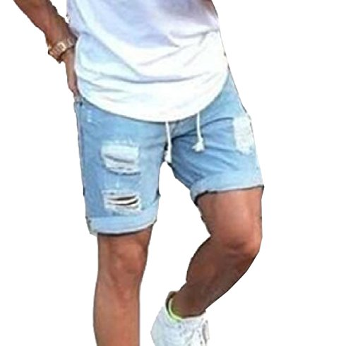 Alion Men's Stylish Ripped Distressed Denim Shorts Casual Jeans Shorts Blue L by Alion