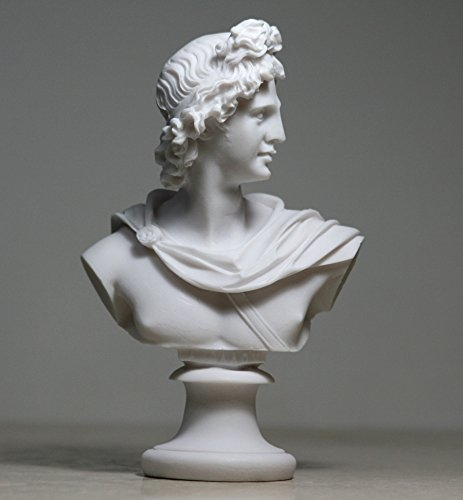 APOLLO God of Music & Light Alabaster Bust Head Statue Sculpture (White Alabaster Statue)