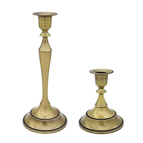 Set of 2 Bronze Gold Brass Wedding Event Metal Candlestick Holder Accent Candle Stand (Bronze, ()