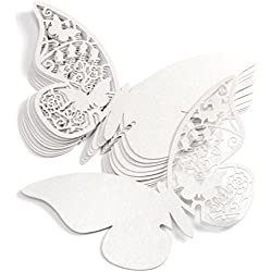 ROSENICE Wedding Paper Card Wine Glass Card Butterfly Style for Wedding Decoration 50pcs
