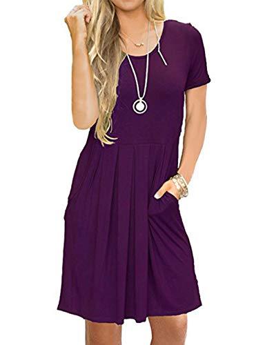 HUALAIMEI Women's Short Sleeve High Waist Swing Tunic Midi Dresses with Pockets (Small, Violet)