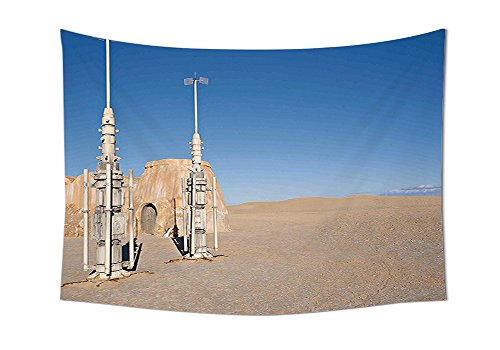 Galaxy Tapestry Wall Hanging Illustration of Famous Town of Famous Movie Set on the Planet Fantasy Galaxy Wars Themed Pattern Bedroom Living Room Dorm Decor Brown Blue (Halloween Themed Town Names)