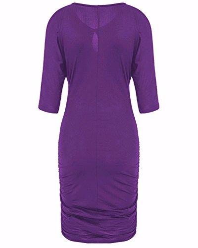 Bandage Bodycon Épaule Froide Des Femmes Biubiu Partie Robe Midi Avec Manches M-3xl Violet