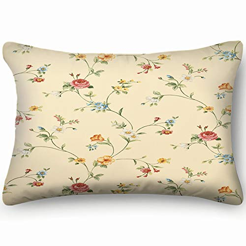 - funny dog Pillow Cases Standard 20x30 inch Size,Retro Floral Wallpaper Vintage