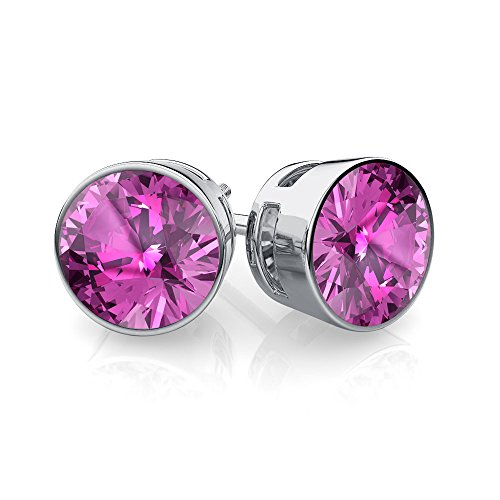 Silvernshine Jewels 6mm Round Cut Pink Saphire Sim Diamond 14K White Gold Plated Besel Set Stud Earing -  9