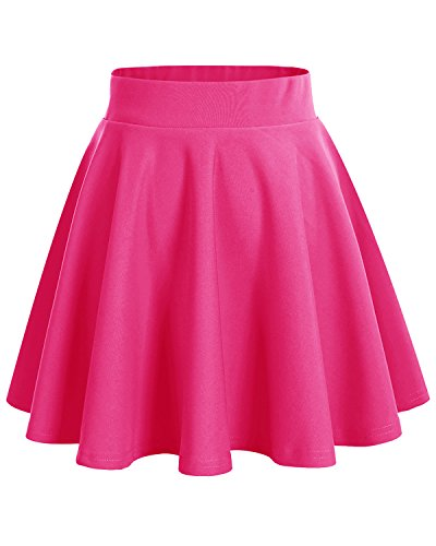 Fuschia Womens Skirt (DRESSTELLS Women's Basic A-Line Versatile Stretchy Flared Skater Skirt Fuschia S)