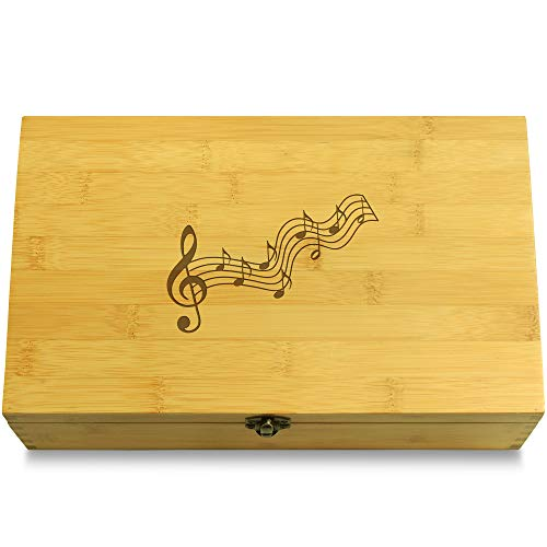 - Cookbook People Musical Notes Music Multikeep Box - Decorative Sustainable Bamboo Adjustable Organizer