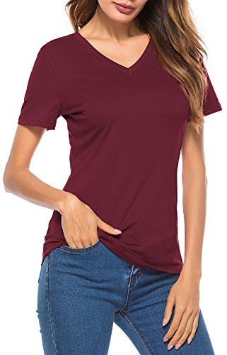 LouKeith Womens Short Sleeve T Shirts V Neck Cotton Shirts Casual Tops Tees Burgundy M