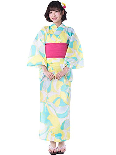 KYOETSU Women's Cute Yukata 3 Piece Set (Yukata/Obi/Geta sandals) (XX-Small (Japan Size S), FM-14(Obi Cherry)) by KYOETSU