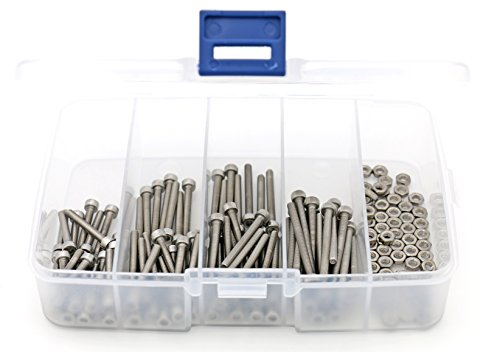 iExcell 304 Stainless Steel M3 x 20mm/25mm/30mm/35mm Hex Socket Head Cap Screws and Nuts Assortment, 125 Pcs