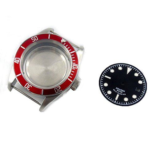 Parnis 41MM Red Aluminum alloy Bezel Stainless Steel Watch Case Fit ETA 2824/2836 movement+dial (Red)