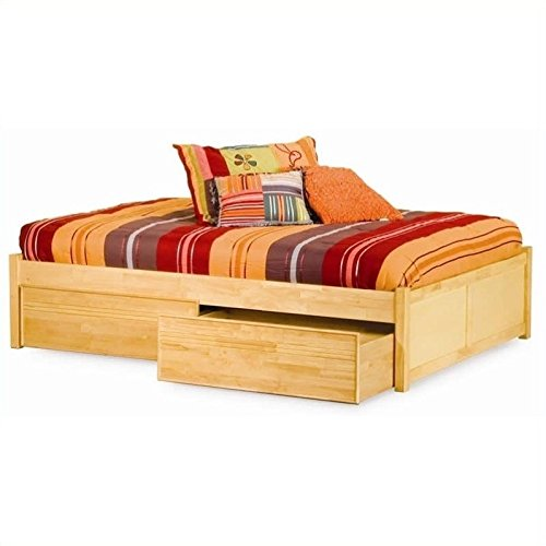 Footboard Queen Maple Size - Pemberly Row Platform Bed with Flat Panel Footboard in Natural Maple -Queen