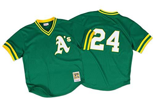 Mitchell & Ness Oakland Athletics Rickey Henderson 1991 Authentic Mesh BP Jersey Green/Yellow (XL/48)
