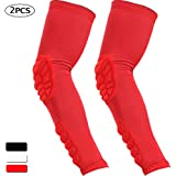 HOPEFORTH 2PCS Elbow Sleeve Padded Compression Arm Forearm Guard Sports Shooter Sleeves Protective Pads Support for Football Basketball Volleyball Baseball Softball Tennis Cycling Outdoor