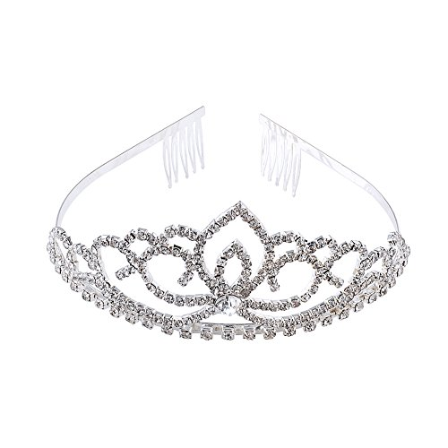 Little Miss America Costume (ABEILLO Elegant Wedding Bridal Crown Headband Tiara Charming Rhinestone Headpiece)