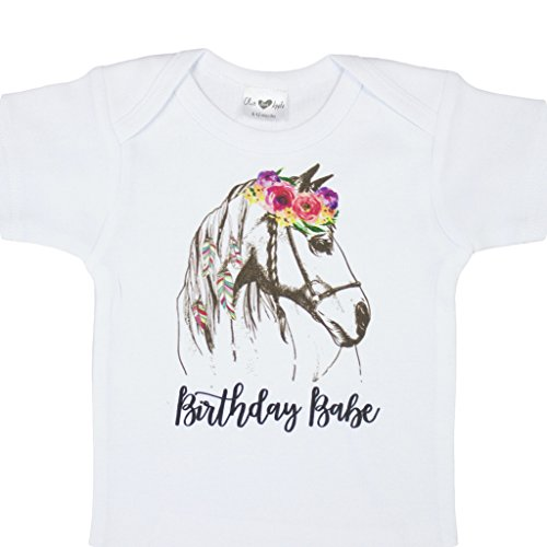 Olive Loves Apple Girls 1st Birthday Babe Birthday Bodysuit Boho Watercolor Horse First Birthday Girl by Olive Loves Apple