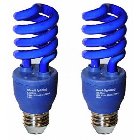 SleekLighting 13 Watt Blue Spiral CFL Light Bulb 120Volt, E26 Medium Base.(Pack of (Blue Incandescent Light Bulb)