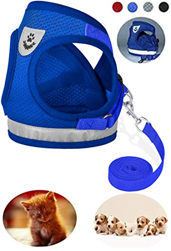 GAUTERF Dog and Cat Universal Harness with Leash Set, Escape Proof Cat Harnesses - Adjustable Reflective Soft Mesh Corduroy Dog Harnesses - Best Pet Supplies