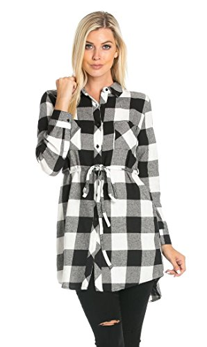 Belted Long Sleeve Plaid Flannel Shirt Dress in Black