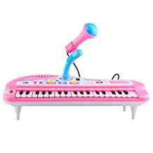 Sanmersen Kids Electronic Organ Keyboard Piano 37 Keys with Microphone Mike Rock Children Beginner Musical Educational Toy Gift (Pink)