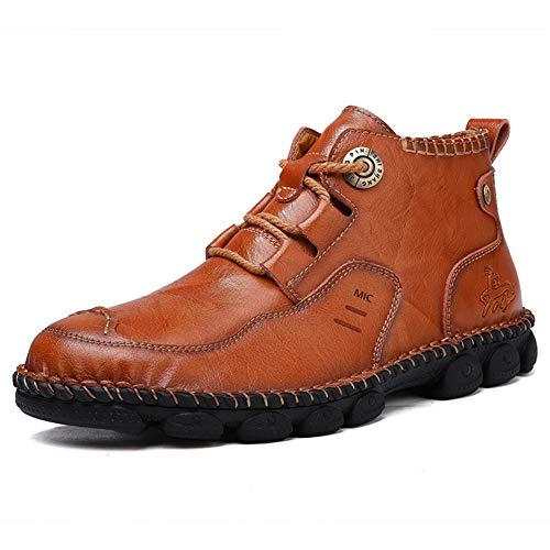 [TQGOLD] 安全靴 作業靴 登山靴 ワークブーツ メンズ マーティンブーツ トレッキングシューズ ハイキングシューズ エンジニアブーツ 本革 防水 滑り止め 超軽量 革靴 紳士靴 通勤 通学 日常着用 (ブラウン 25.5cm)