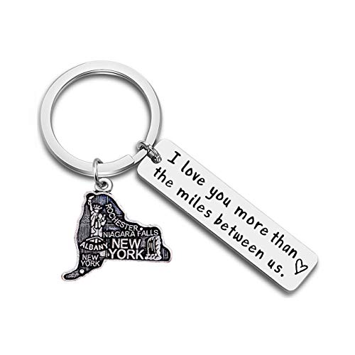 JJTZX I Love You More Than The Miles Between Us Long Distance Relationship State Map Keychain Going Away Gift Travel Gift (New York)