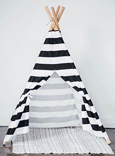 Black and White striped teepee play tent by TinyTeepees