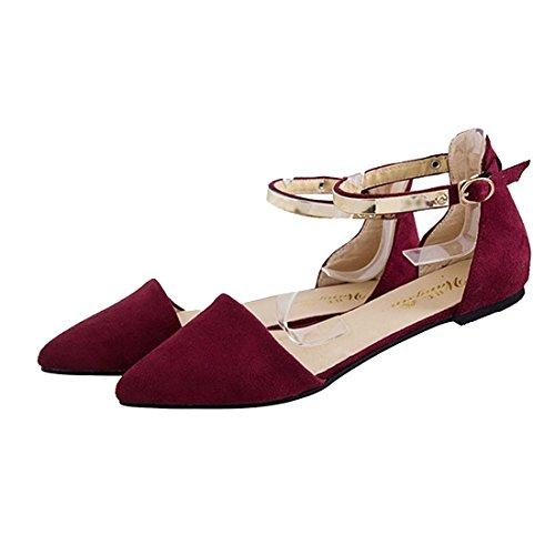SODIAL Chaussures a Bout Pointu en Daim de la Semelle Plate Souple a la Mode Pour la Saison de Printemps et d'ete Pour Femme Sandales Noir US4 Rouge WveBVfPQ