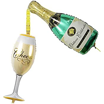 Amazon Giant 39 Champagne Bottle Wine Glass Mylar Balloons
