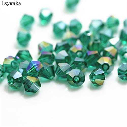 - Pukido Blue Green AB Color 100pcs 4mm Bicone Austria Crystal Beads Charm Glass Bead Loose Spacer Bead for DIY Jewelry Making