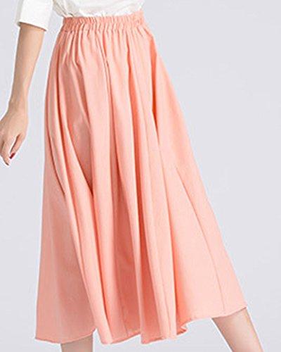 Pure ZhuiKunA Pendule lastique Pink Mori Fille Couleur Vent Jupe Femme Taille Casual Plisse Grand qrIr7A