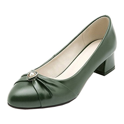 SJJH Casual Shoes with Chunky Heel and Loafer Shoes for All Occasions with Large Green