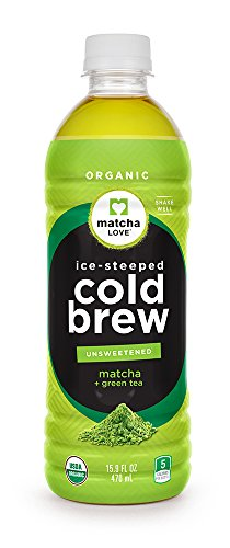 Matcha Love Cold Brew Unsweetened Plus Green Tea 15.9 Ounce Bottle (Pack of 12) Unsweetened Five Calories No Sugar or Artificial Sweeteners USDA Certified Organic Caffeinated (Best Cold Green Tea)