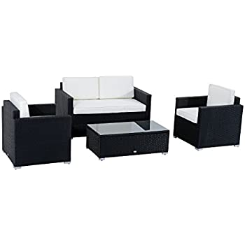 This Item Outsunny 4 Piece Cushioned Outdoor Rattan Wicker Sofa Sectional Patio  Furniture Set