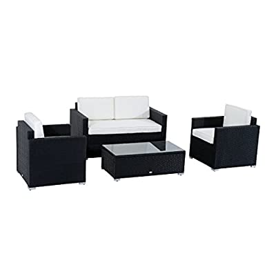 Outsunny 4 Pieces Outdoor Wicker Patio Sofa Set, Rattan Conversation Furniture Set with Chushions and Coffee Table, Whilte - ✔ RECONFIGURABLE LAYOUT: The Outsunny patio furniture loveseat set includes 1 table, 2 chairs and 1 love seat for one low price, giving you the opportunity to create the backyard of your dreams all for one affordable price. ✔ FUNCTIONAL COMFORT: Extra-deep, low sitting modern seating of this patio furniture loveseat set and the rattan patio furniture cushions create the ultimate outdoor seating experience for you and your guests. This Patio Furniture Loveseat Set will quickly become your favorite place to entertain. ✔ OUTDOOR CENTERPIECE: Contemporary, clean lines and sleek angles of this patio furniture loveseat Set create a modern centerpiece to any outdoor setting. The coffee brown rattan finish stylishly compliments the cream white cushions beautifully. - patio-furniture, patio, conversation-sets - 41UndHPo7AL. SS400  -