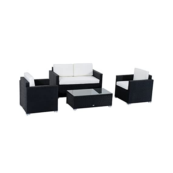 Outsunny 4 Pieces Outdoor Wicker Patio Sofa Set, Rattan Conversation Furniture Set with Cushions and Coffee Table, Black/White - ✔ RECONFIGURABLE LAYOUT: The Outsunny patio furniture loveseat set includes 1 table, 2 chairs and 1 love seat for one low price, giving you the opportunity to create the backyard of your dreams all for one affordable price. ✔ FUNCTIONAL COMFORT: Extra-deep, low sitting modern seating of this patio furniture loveseat set and the rattan patio furniture cushions create the ultimate outdoor seating experience for you and your guests. This Patio Furniture Loveseat Set will quickly become your favorite place to entertain. ✔ OUTDOOR CENTERPIECE: Contemporary, clean lines and sleek angles of this patio furniture loveseat Set create a modern centerpiece to any outdoor setting. The coffee brown rattan finish stylishly compliments the cream white cushions beautifully. - patio-furniture, patio, conversation-sets - 41UndHPo7AL. SS570  -