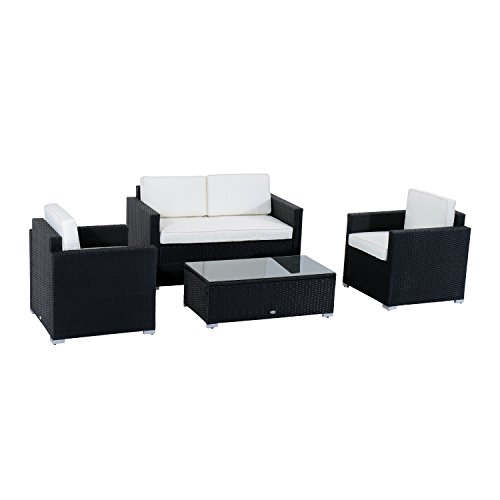41UndHPo7AL - Outsunny Modern 4 Piece Cushioned Outdoor Rattan Wicker Sofa Sectional Patio Conversation Furniture Set