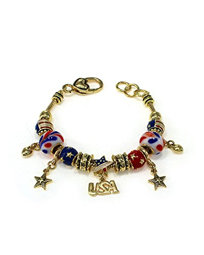 Jewelry Nexus I Love USA Theme American Flag Gold-tone Inspirational Bracelet with Heart Lobster Claw