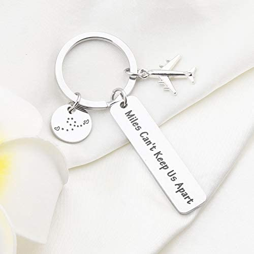 bobauna Long Distance Relationship Keychain Miles Cant Keep Us Apart Deployment Going Away Gift for Couple Family Friend