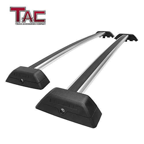 TAC TRUCK ACCESSORIES COMPANY TAC Cross Bars for 2006-2010 Hummer H3 with Lock System Silver OE Style Aluminum Roof Top Rail Rack Snowboard Kayak Canoe Luggage Carrier