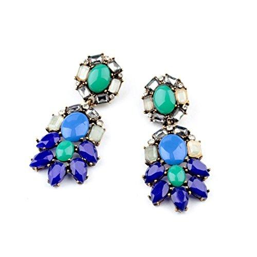 Gemstone Cluster Earrings - Peony.T Women's Crystal Rhinestones Gemstones Cluster Dangle Earrings (Earrings)