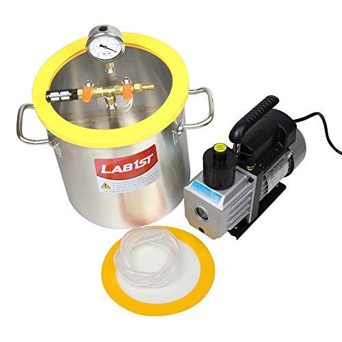 lab1st 3 Gallon Vacuum Chamber and 3 CFM Pump Kit for Degassing Silicone Epoxy