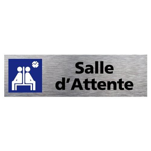 Plaque d'Information Salle d'Attente - Adhésif Autocollant Sticker aspect Aluminium Brossé - Pictogramme Salle d'Attente Porte Rectangle Dimensions 170 x 50 mm - Salle d'Attente Signalétique.biz France Q0103