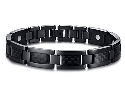 Black Stainless Steel Carbon Fiber 4 in 1 Healthy Magnetic Therapy Link Chain Bracelets for Men,9