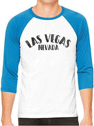 Unisex Mens City of Las Vegas Nevada 3/4 Sleeve White Baseball T-Shirt, Neon Blue Sleeves, S