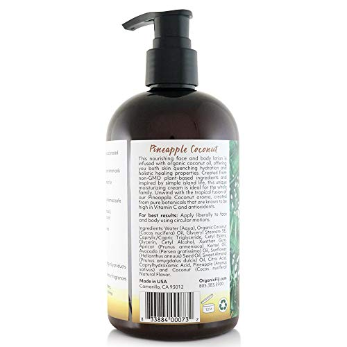 41Une0pYFLL - Coco Fiji, Coconut Oil Infused Face & Body Lotion, Pineapple Coconut 12oz