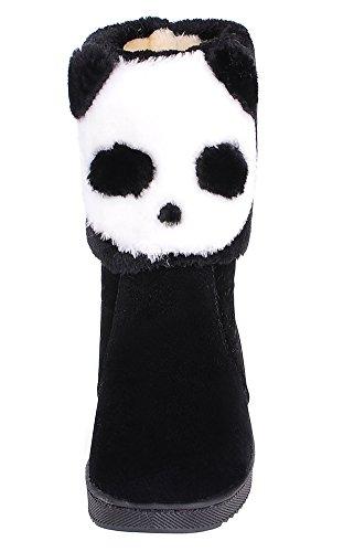 Idifu Kvinners Varm Panda Mønster Flat Vinterstøvler Fullt Pels Foret Ankel Snø Sokker Svart