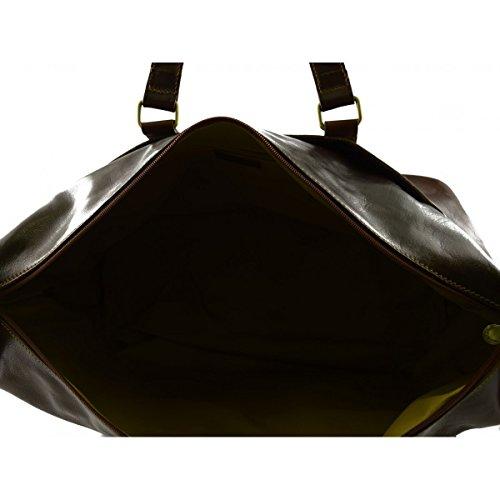 Borsa Viaggio In Vera Pelle Con Tasche Frontali Colore Marrone - Pelletteria Toscana Made In Italy - Borsa Viaggio