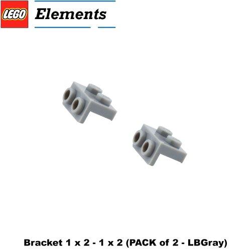 Lego Parts: Bracket 1 x 2 - 1 x 2 (PACK of 2 - LBGray)