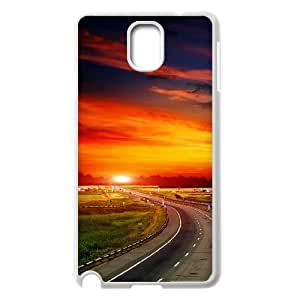 {Funny Series} Samsung Galaxy Note 3 Case Highway at Sunset, Cute Protective Case Okaycosama - White
